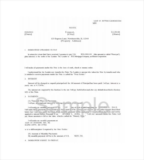8+ Mortgage Note Templates – Free Sample, Example, Format Download ...
