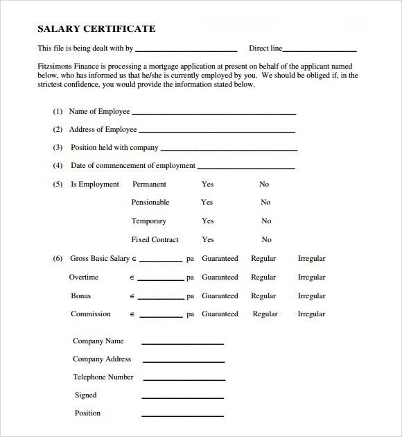 7+ Salary Certificate Templates - Word Excel PDF Templates