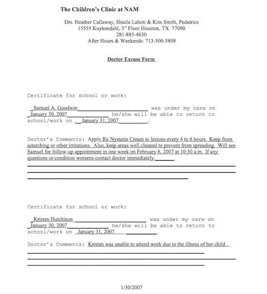 21 Free Doctor Note / Excuse Templates - Template Lab | Kiley ...