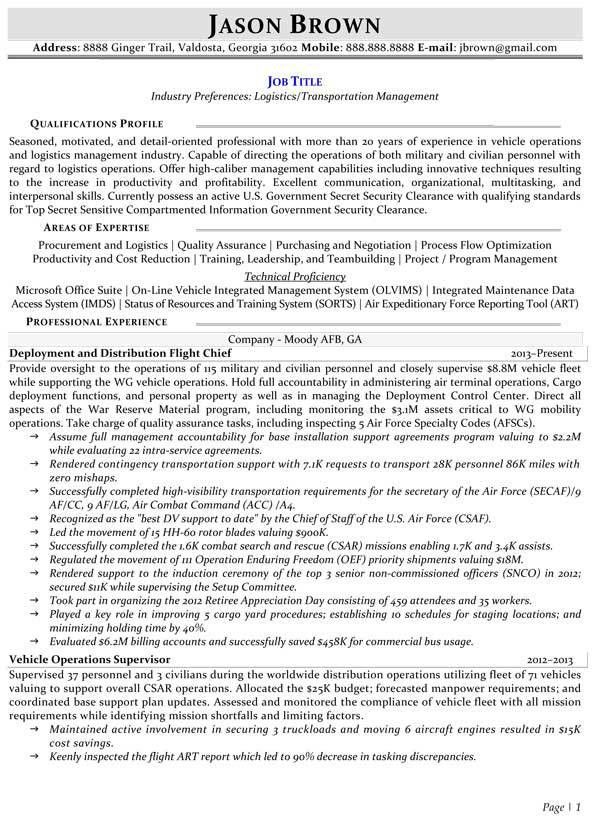 Transportation Resume Examples - Resume Professional Writers