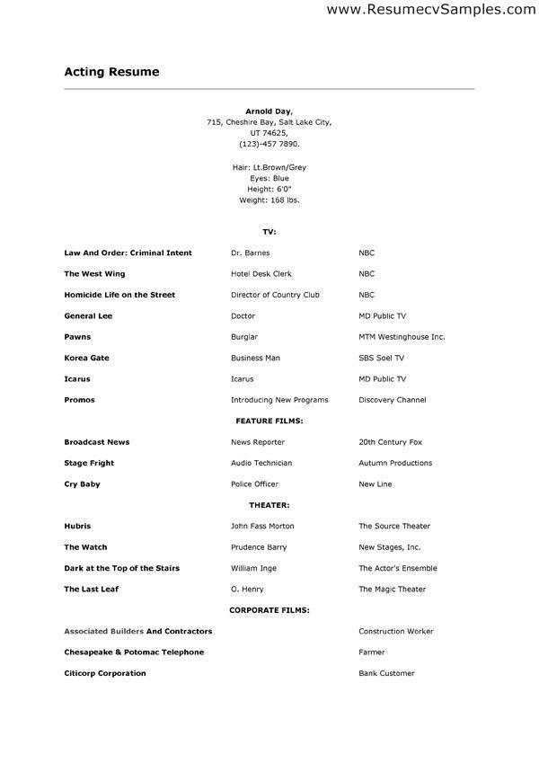 acting resume template professional acting sample resume