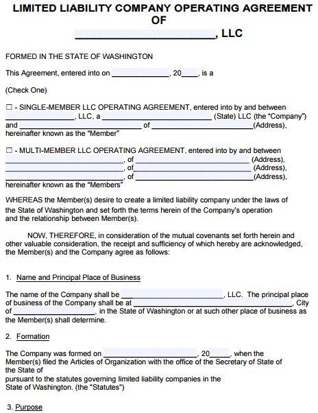 Free Washington LLC Operating Agreement Template   PDF   Word  