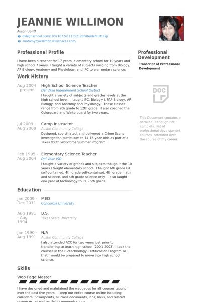 Science Teacher Resume samples - VisualCV resume samples database