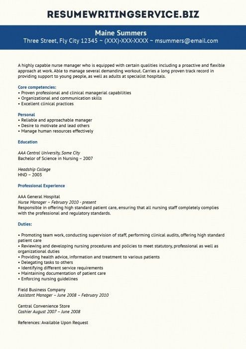 sample nursing management resume
