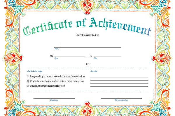 Printable Certificate of Achievement. Print, Sign, and Give!