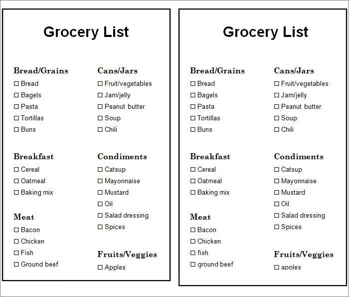 Grocery List Template - 7+ Free Word, PDF Documents Download ...