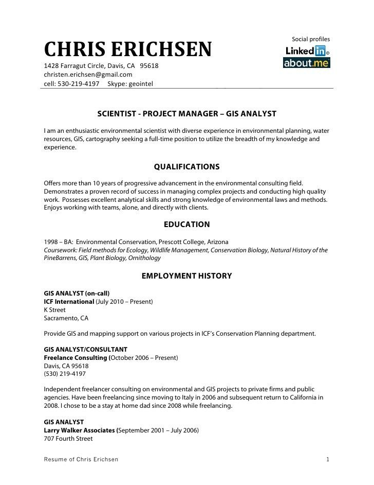 gis analyst resumes