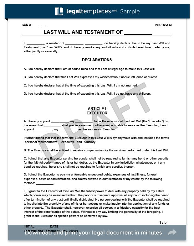 Create a Last Will and Testament | Legal Templates