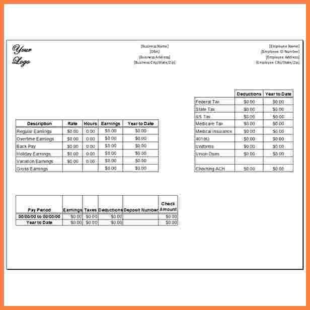 4+ pay stub template microsoft office | Securitas Paystub