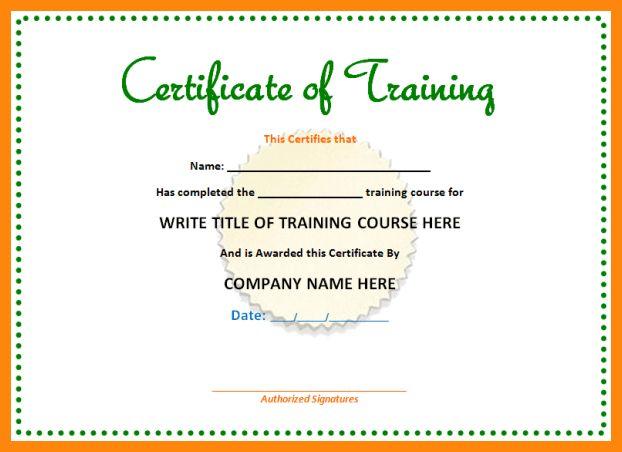 4+ training certificate template word | nurse resumed