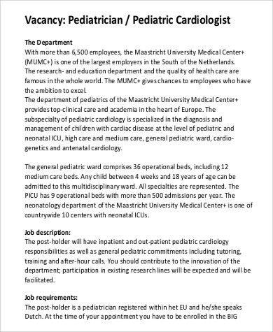Sample Cardiologist Job Description - 6+ Examples in PDF