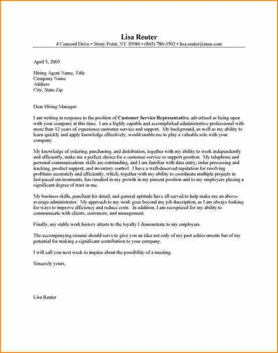 14+ cover letter example customer service - Basic Job Appication ...