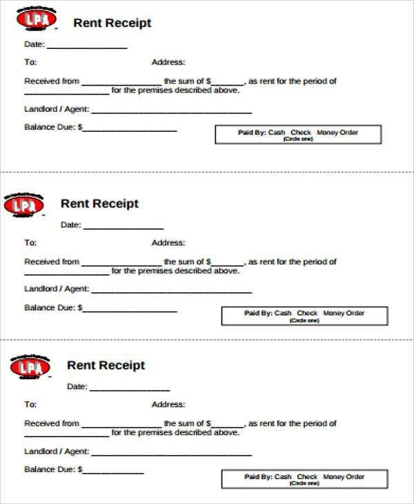 Blank Rent Receipt Sample - 6+ Examples in Word, PDF