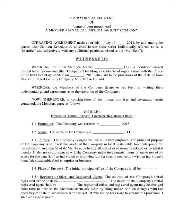 Sample Operating Agreement Form - 10+ Free Documents in word, PDF