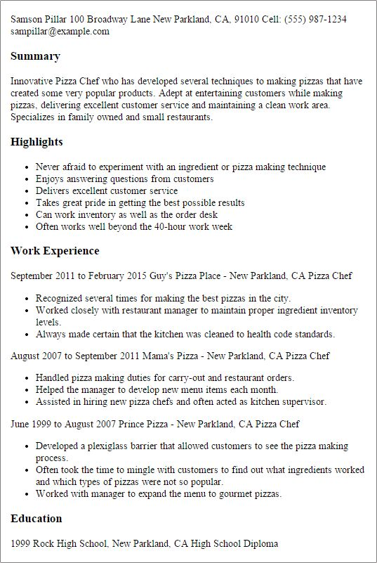 Culinary Resume Templates to Impress Any Employer | LiveCareer