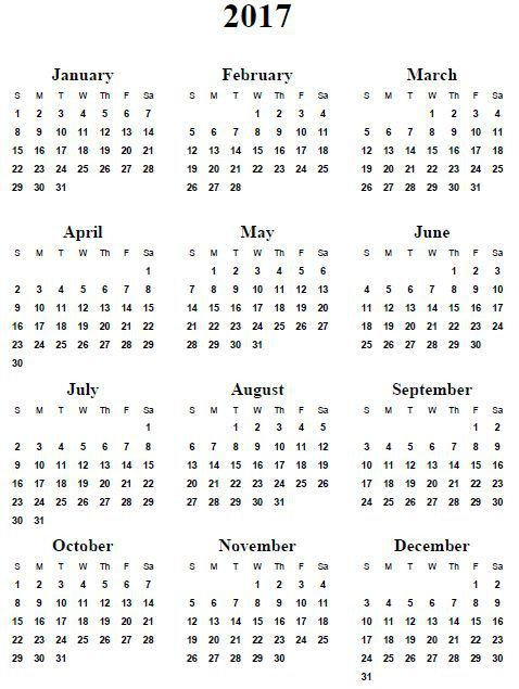 Templates Archives - Free Printable 2017 Calendar Holidays PDF ...