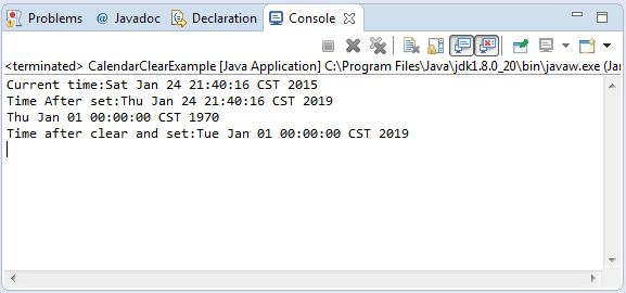 Java Calendar clear() method example
