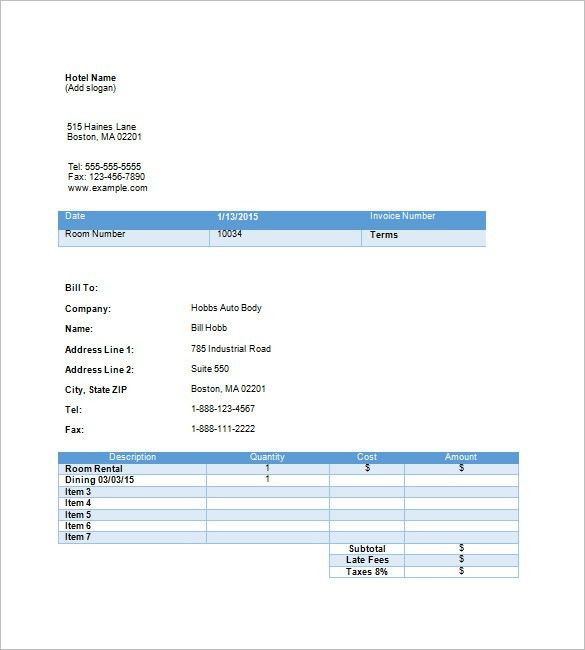 Hotel Invoice Template – 8+ Free Sample, Example, Format Download ...