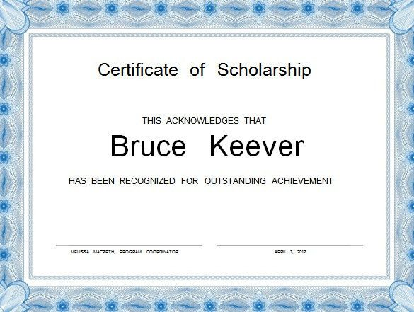 template free download certificate 8 scholarship certificate ...