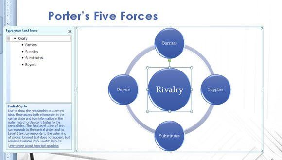 Porter's Five Forces Model in PowerPoint 2010 Presentation