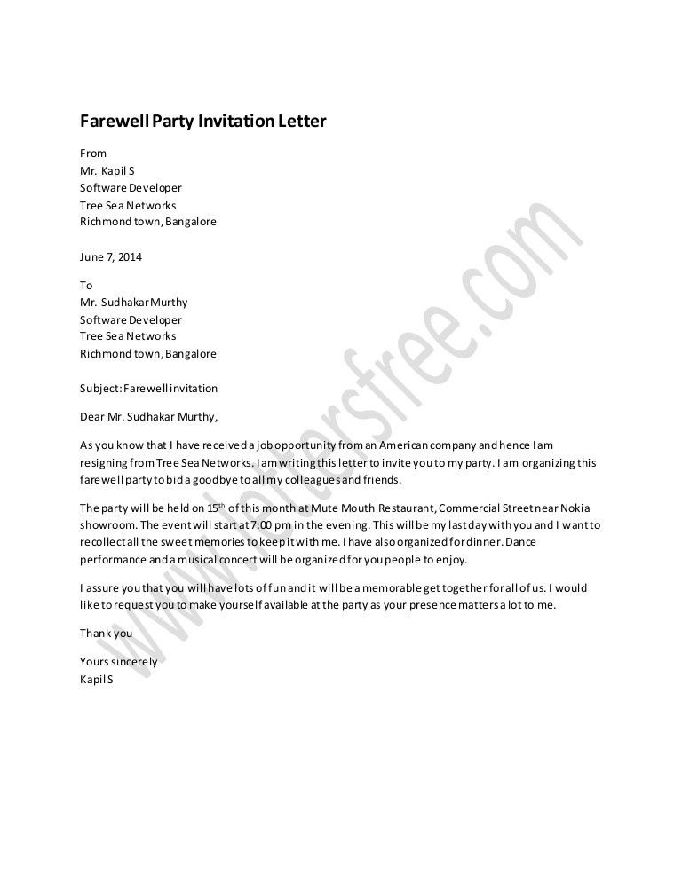 Farewell Invitation Email Office Farewell Invitation Email Best – Party Invitation Letter