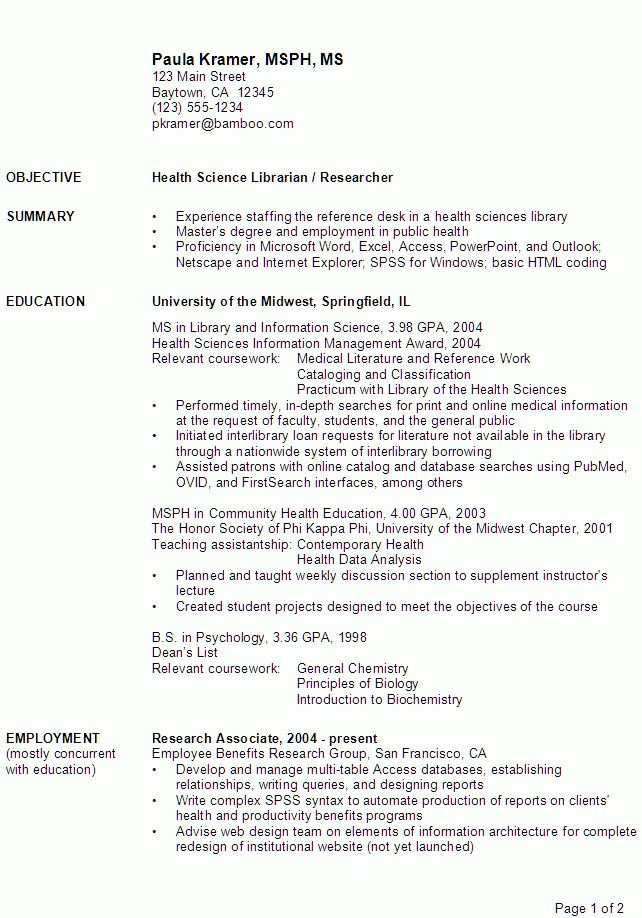 Relevant Coursework In Resume Example - http://www.resumecareer ...