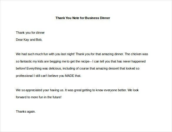 8+ Thank You Note For Dinner – Free Sample, Example, Format ...