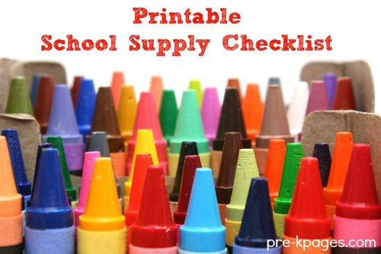 Pre-K Classroom School Supplies List