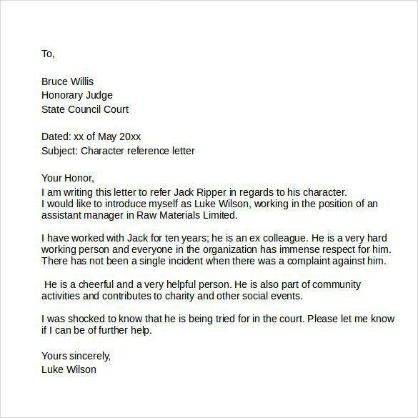 Personal Reference Letters. Writing Character Reference Letter ...