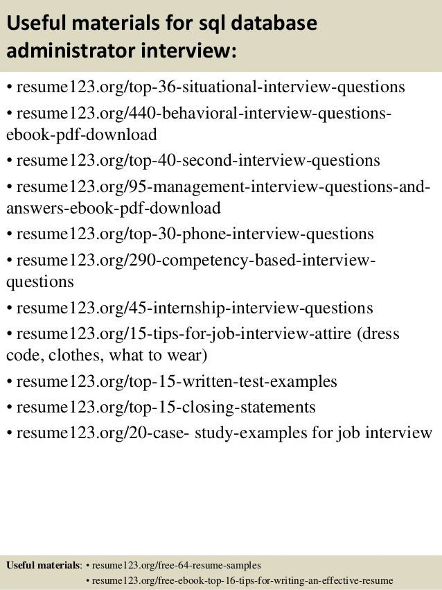 Top 8 sql database administrator resume samples