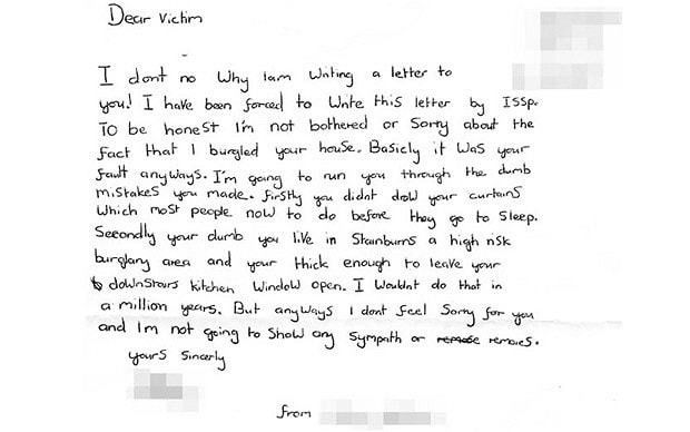 Burglar abuses victims in 'apology' letter - Telegraph