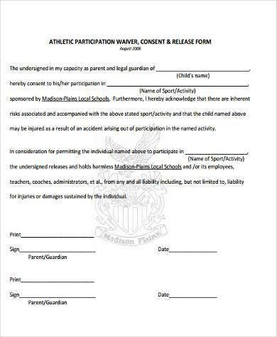 Sample Athlete Waiver Forms - 9+ Free Documents in Word, PDF