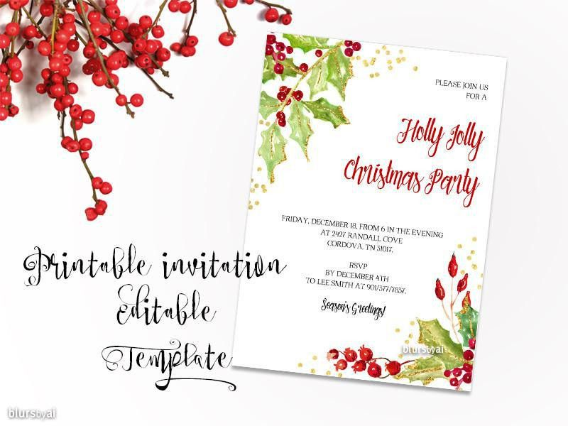 Printable Christmas party invitation template for Word, in 5x7 ...