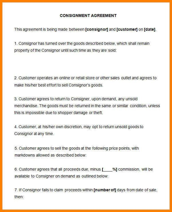 Awesome Consignment Agreement Definition Gallery - Best Resume ...