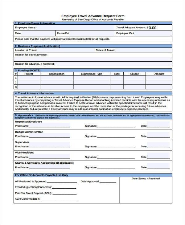 Travel Request Form Template