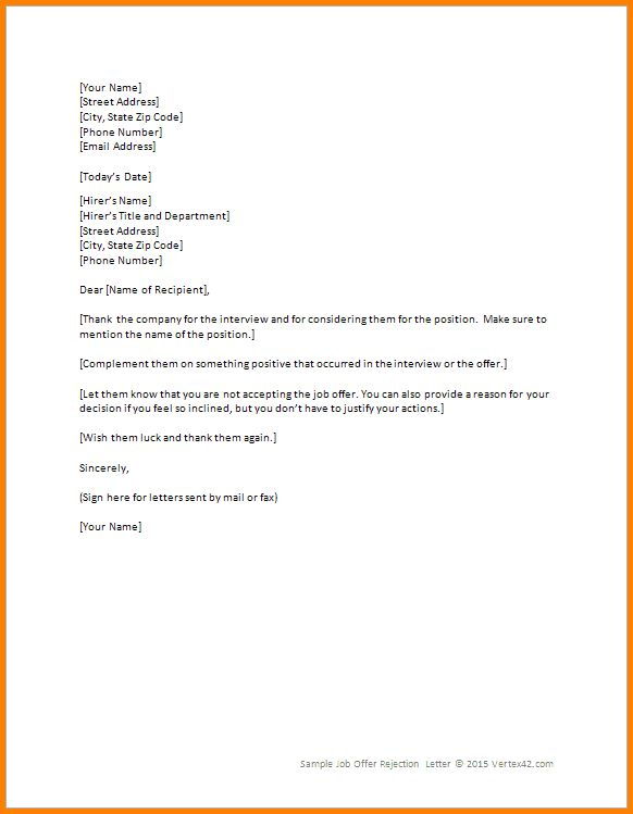8+ rejecting a job offer | Letter Template Word
