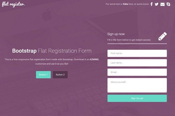 Bootstrap Flat Registration Forms: 3 Free Templates | AZMIND