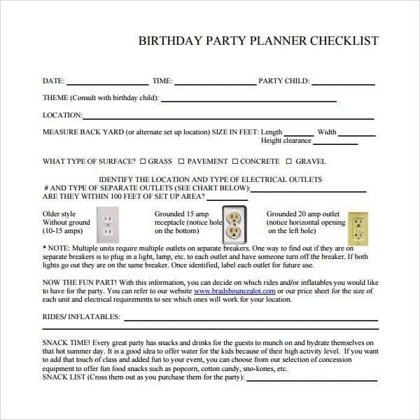 Sample Birthday Party Checklist Template - 6+ Free Documents in PDF