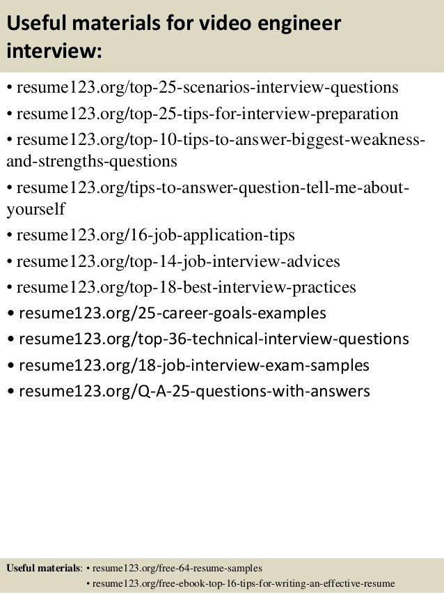 Top 8 video engineer resume samples