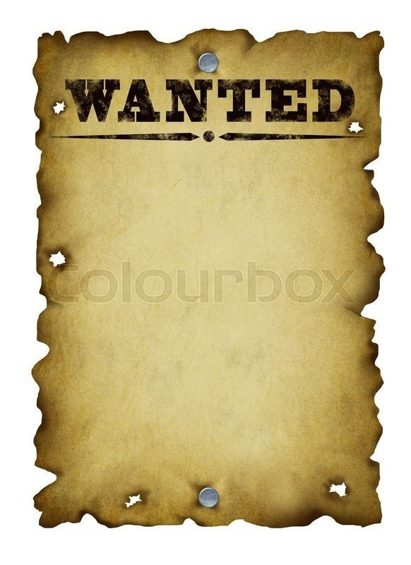A old wanted poster with copy space and the word REWARD at the ...