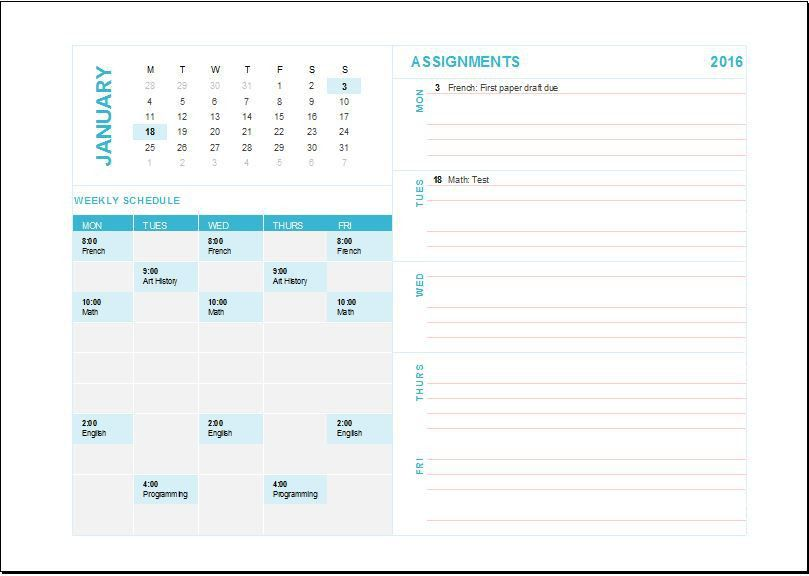 Homework Assignment Planner Template | Word & Excel Templates