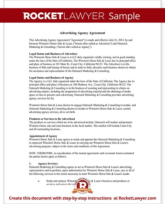 Advertising Agency Agreement Contract Sample, Template  Agent Agreement Template Free