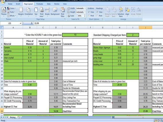 Pricing Template for Etsy Sellers, Excel Spreadsheet includes Etsy ...