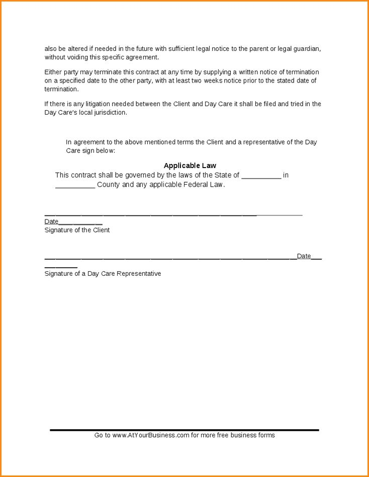 5+ daycare contract templates | Loan Application Form