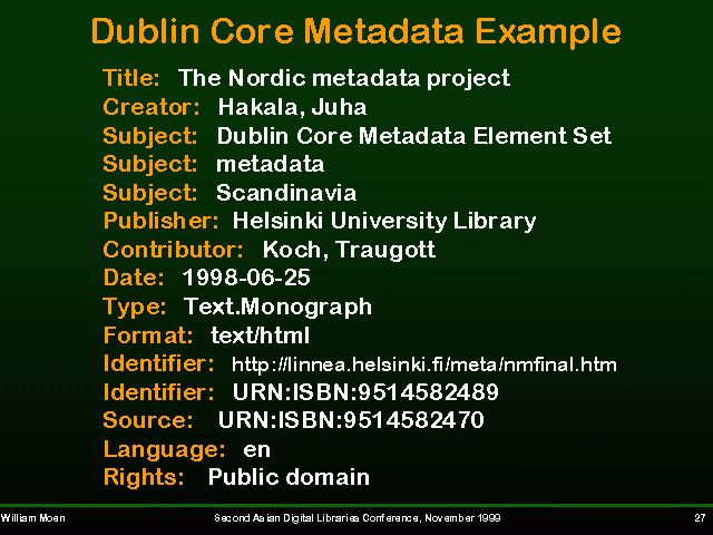 Dublin Core Metadata Example