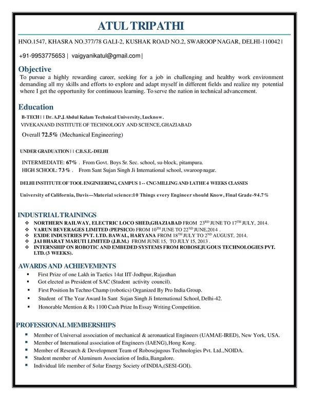 What is the best resume for mechanical engineer fresher? - Quora