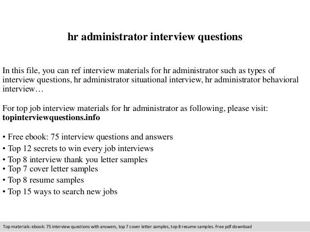 Hr administrator interview questions