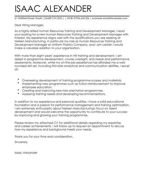 Training And Development Cover Letter Examples | LiveCareer