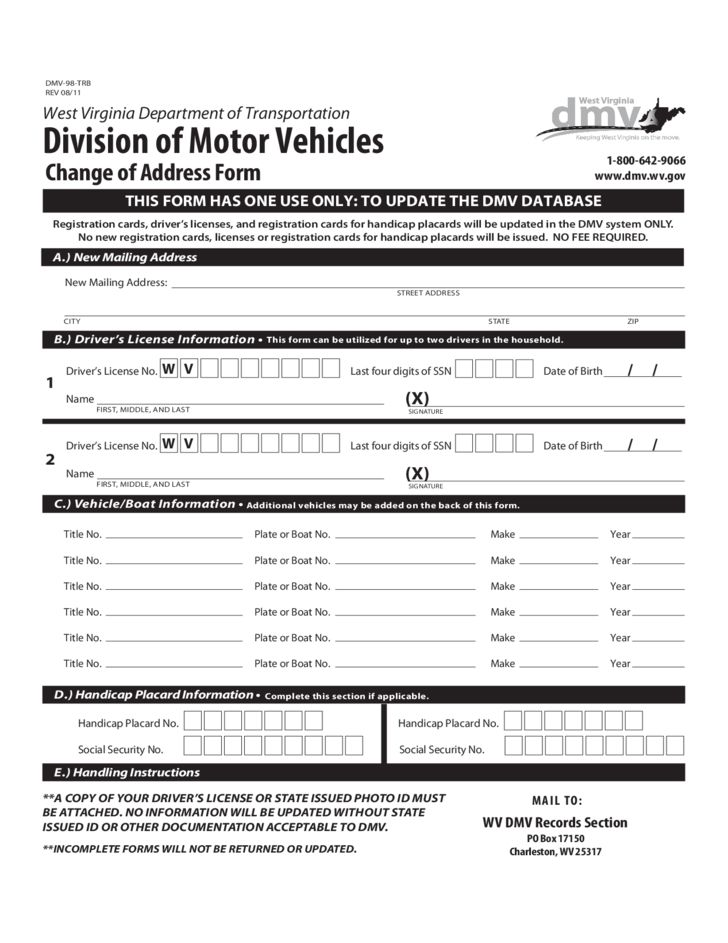 DMV Change of Address Form - West Virginia Free Download