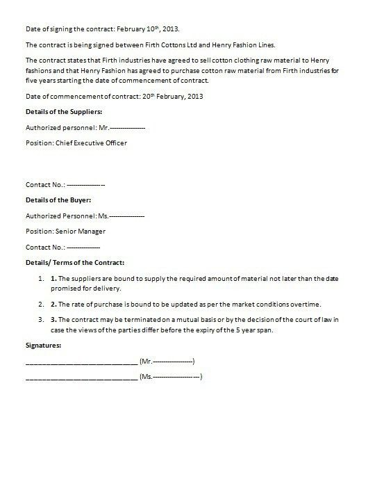 Supplier Contract Template Supply Agreement Template Sample Form
